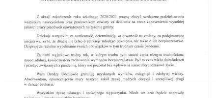 List Burmistrza Ujścia z okazji zakończenie roku szkolnego